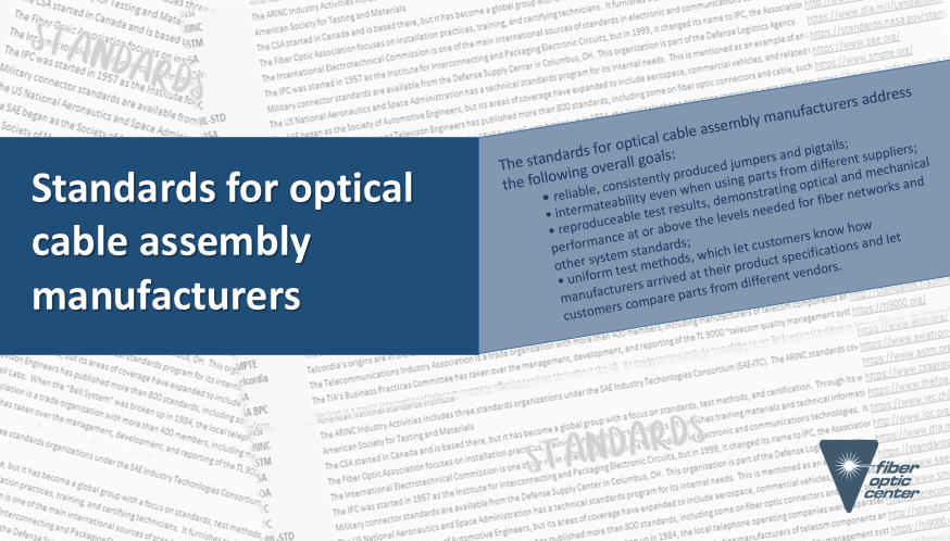 Standards for optical cable assembly manufacturers